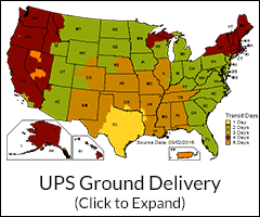 UPS Ground Delivery Map